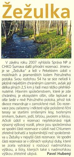 """Zpráva o vyhlášení přírodní rezervace """"Žežulka""""  v jarním čísle čtvrtletníku NP Šumava roku 2008"""
