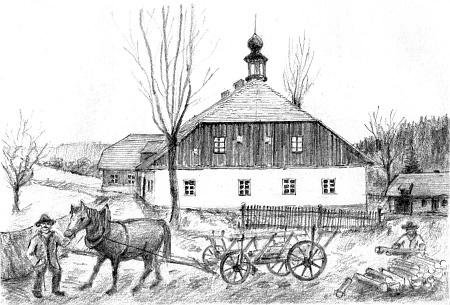 Dvůr Žežulka a škola na Žežulce, jak je zpodobnil nas dvou kresbách Jan Kopp
