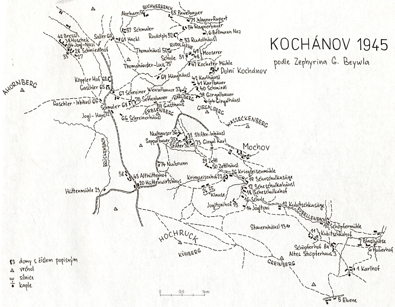 Dvůr Žežulka a škola na Žežulce, jak je zpodobnil ve třech kresbách Jan Kopp