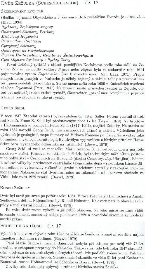 Text o historii dvora Žežulka, čerpající z části i z jeho textu, přeloženého v Kohoutím kříži