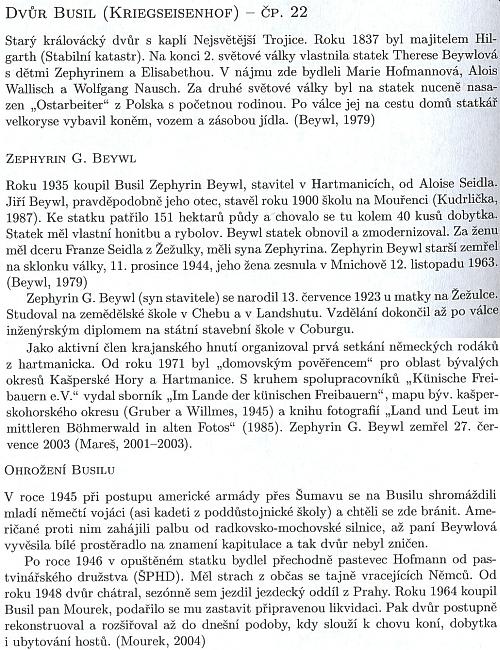 O dvoru Busil a rodině Beywlových i s připomínkou Kohoutího kříže jako pramene informací