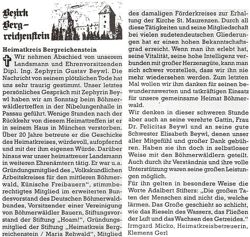 Nekrolog v krajanském měsíčníku, z něhož se dovídáme i místo Beywlova skonu, napsala Irmgard Micková spolu s Klemensem Gerlem