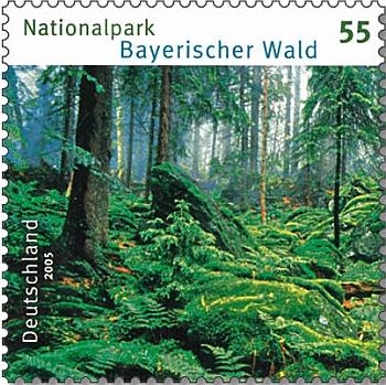 """Německá známka z roku 2005 zachycuje zelené """"spodní"""" patro Bavorského lesa"""
