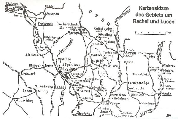 Mapka území kolem Roklanu a Luzného z jeho knihy, jejímž autorem je Joachim Walossek