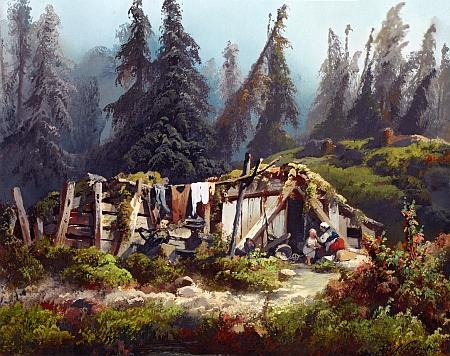 Chatrč v lese pod Roklanem (Ze Šumavy) na stejnojmenném obraze Josefa Navrátila (1798-1865) ze sbírek Národní galerie v Praze