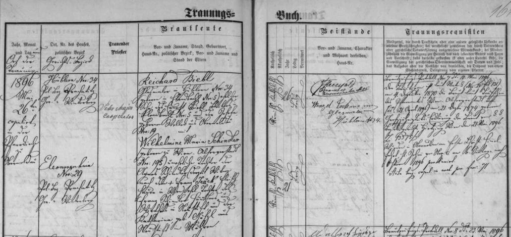Záznam o svatbě rodičů dne 26. května 1896 v Horní Vltavici: otec Reichard Biebl byl malířem skla, matka Wilhelmine Maria, roz. Schindlerová, se narodila ve Vídni Franzi Schindlerovi a jeho ženě Katharině, roz. Götzlové z obce Neustift na Moravě, která se po manželově smrti znovu provdala za vídeňského řezníka Franze Ježka