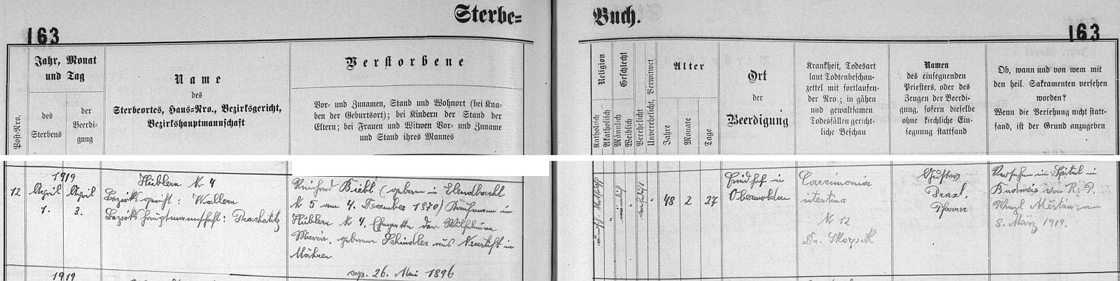 Záznam o úmrtí otcově ve věku 48 let 1. dubna 1919 v Houžné a pohřbu dva dny nato v Horní Vltavici