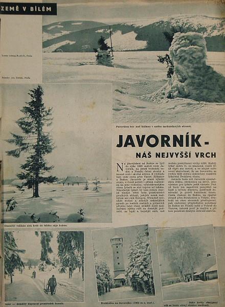 Reportáž z obálky 2. čísla XIV. ročníku časopisu Letem světem - Rozkvět, vyšlého v lednu 1940, líčí Javorník s rozhlednou jako nejvyšší horu Protektorátu Čech a Moravy