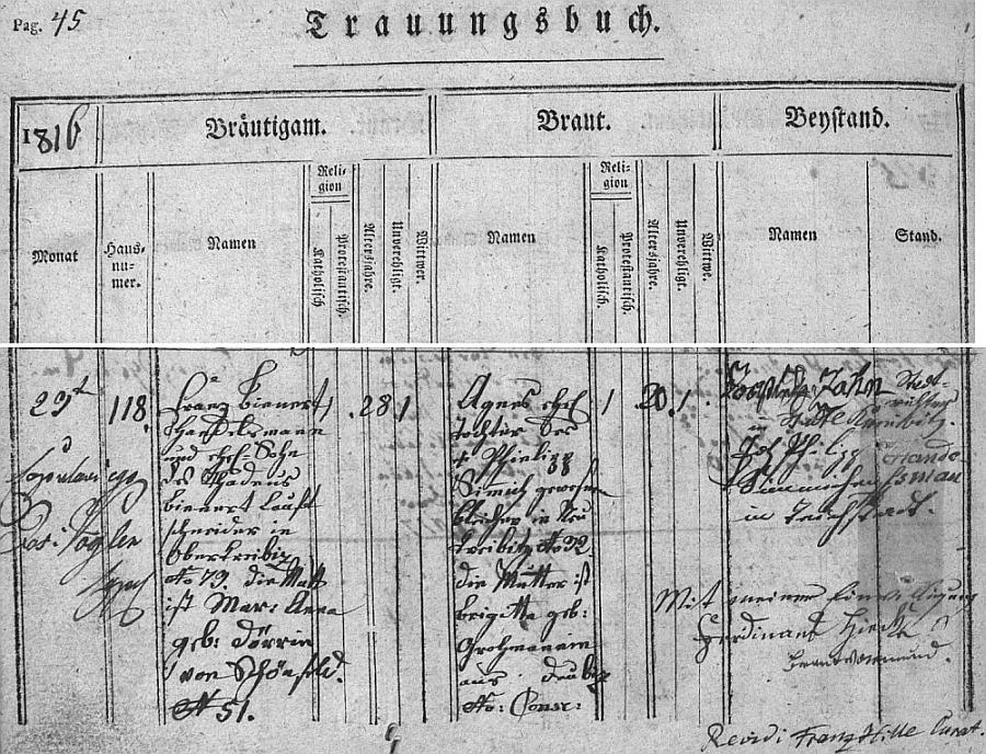 Originál záznamu o jeho svatbě v oddací matrice farní obce Horní Chřibská