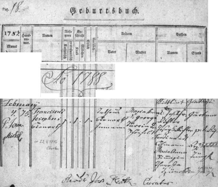 Záznam o jeho narození v křestní matrice matrice farní obce Horní Chřibská