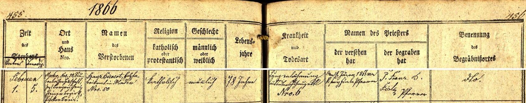 """Záznam o jeho skonu v úmrtní matrice farní obce Srní - místem úmrtí byla Modrava čp. 50 """"na prášilském panství"""", místem uložení do hrobu farní hřbitov v Rehberku, tj. v dnešním Srní"""