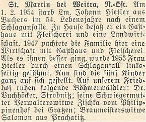 Tento hostinský a řezník Hietler zemřel vroce 1954 vpouhých 54 letech a zanechal pět nezaopatřených dětí