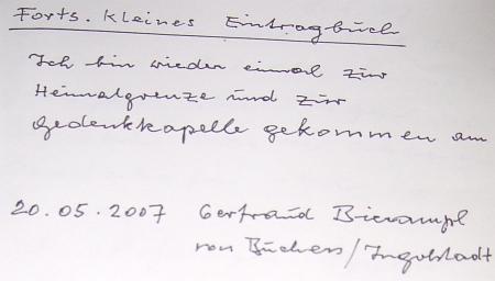 Její zápis v pamětní knize stadelberské kaple při rodném Pohoří na Šumavě z rakouské strany