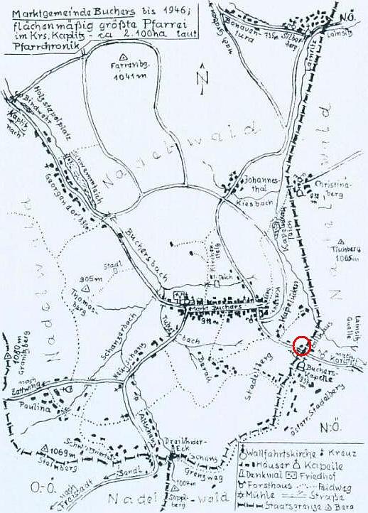 Na plánku Pohoří s okolím je kroužkem vyznačena poloha domu čp. 42, kde se Erich Bierampl narodil