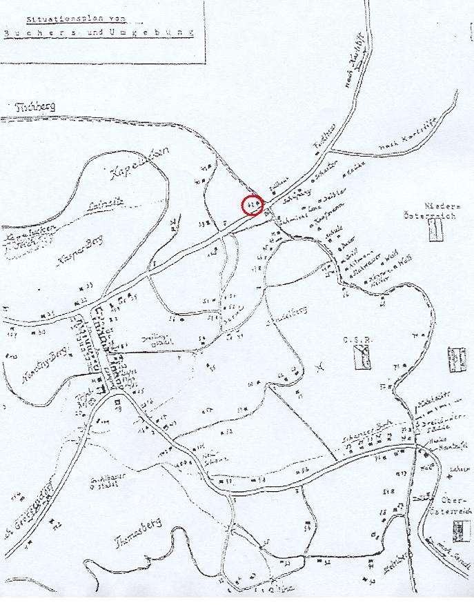 Jiný plánek obce s okolím označuje polohu domu čp. 42 i s číslem