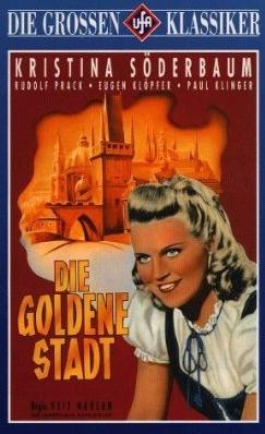"""""""Dívka ze Šumavy"""" na přebalu nového DVD v  edici """"Die grossen UFA Klassiker"""", kde je """"Zlaté město"""" prezentováno jako druhý vpořadí barevný německý film (prvním byl snímek """"Frauen sind doch bessere Diplomaten"""" z roku 1938, pro technické problémy však uvedený až krátce před """"Zlatým městem"""")"""