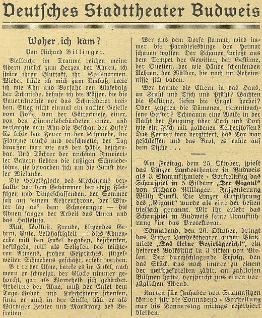 Jeho básnické vyznání, odvolávající se na venkovský selský původ, provází na stránkách budějovického německého listu pozvání ke zdejší inscenaci jeho hry hostujícím tu Zemským divadlem z Lince