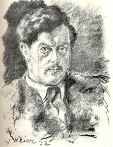 Na portrétní kresbě Willyho Kliera z roku 1932