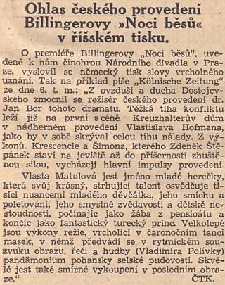 """Takto psaly o uvedení jeho """"Noci běsů"""" v Národním divadle v zrcadle """"říšského tisku"""" protektorátní Národní listy"""