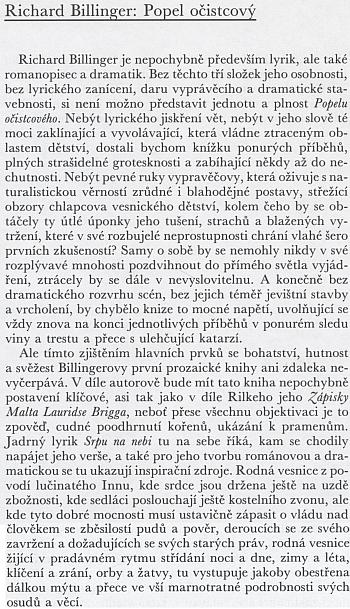 Recenze českého vydání Billingerovy prózy, kterou do oznamovatele edice Atlantis z jara 1940 napsal sám její překladatel, básník Jan Zahradníček