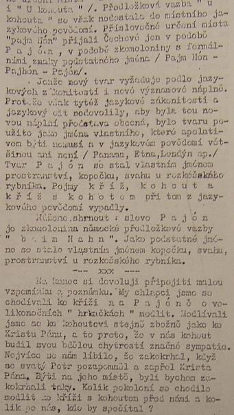 """Doklad o """"pajóně"""" z článku v Jevišovických novinách z roku 1966, který mi poskytl českobudějovický diecézní konzervátor Mgr. Ing. Jiří Černý"""