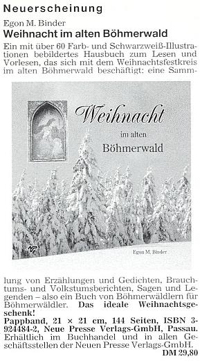 Inzerát (1992) na jeho knihu o Vánocích na Šumavě