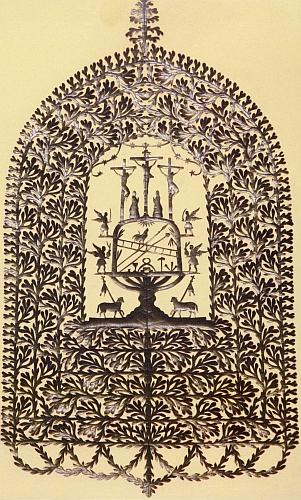 Na černém vystřihovacím obrázku ze sbírek Západočeského muzea v Plzni vidíme kohouta na žebříku a při nástrojích Kristova umučení jako střed kompozice