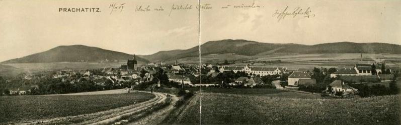 Rodné Prachatice s Libínem nalevo na pohlednici Josefa Seidela