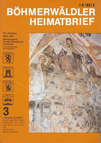 Freska Posledního soudu ve hřbitovním kostele sv. Petra aPavla ve Starých Prachaticích na jeho snímku zdobí tu obálku jednoho z čídel krajanského měsíčníku