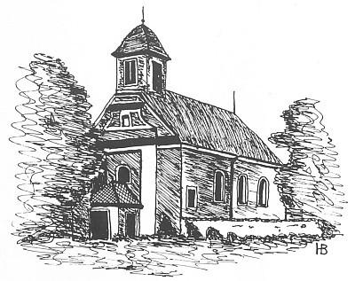Kostel v Korkusově Huti na jeho kresbě i s autorskou signaturou...