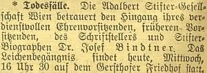 Dvě z právy z tisku o jeho úmrtí - informovaly o něm Kleine Volks-Zeitung a nacistický Völkischer Beobachter