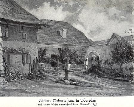 Stifterův rodný dům v Horní Plané na reprodukci akvarelu z roku 1877, zveřejněné v jeho knize údajně poprvé