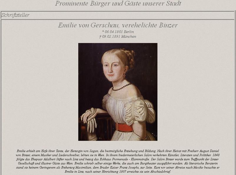 Na stránkách věnovaným prominentním měšťanům a hostům rakouského Lince zaujímá její portrét čestné místo