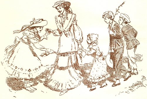 """Komtesa Hortensie s """"Panklovic"""" dětmi na ilustraci Zdeňka Buriana k Babičce Boženy Němcové (vydání z listopadu 1940)"""