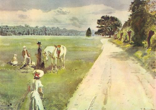 S bílým koněm a dětmi (Barunka, tj. autorka knihy, je tu malována odzadu) stojí komtesa na cestě ke Starému bělidlu na barevné ilustraci Zdeňka Buriana z tohoto vydání Babičky
