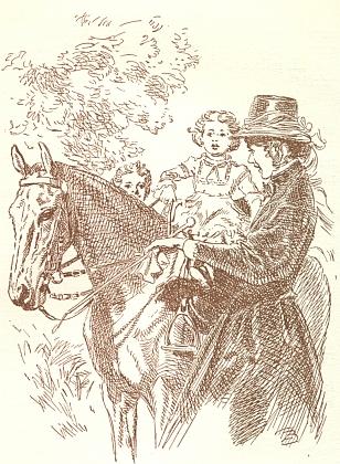"""Komtesa vysazuje Adélku na """"bílého koníka"""""""