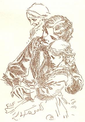 Tady zachytil Zdeněk Burian v trojportrétu babičku, komtesu aAdélku jako zpodobení tří věků ženy