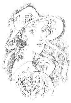 Komtesa Hortensie na kresbě Karla Hrušky, doprovázející nové vydání (2008) německého překladu Babičky odKamilla Ebena (1883-1925), strýce skladatele Petra Ebena a po několik let i profesora němčiny a češtiny načeskobudějovickém německém gymnáziu (1906-1909)