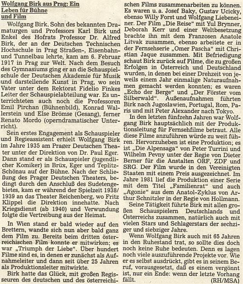 Medailon jeho vnuka, herce a významného filmového a televizního producenta Wofganga Birka, na stránkách oficiálního orgánu krajanského sdružení