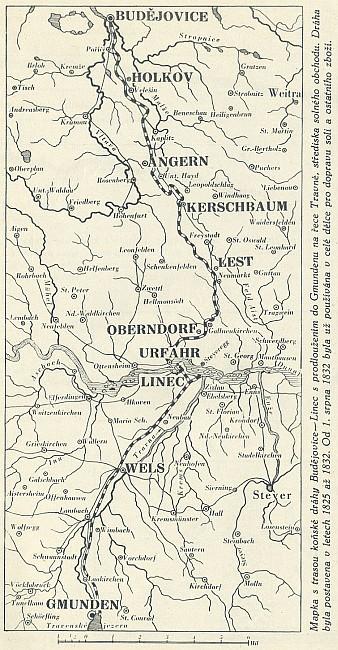 Mapka bez hranic, ovšem zase jen s německými jmény některých osad, které dnes mají na mapách jen označení české