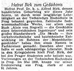 Ústřední list vyhnaných krajanů připomněl v roce 1955 sté výročí jeho narození