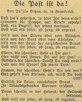 Jeho báseň z válečného nasazení ve Francii, jak ji otiskl v listopadu 1942 německý budějovický list