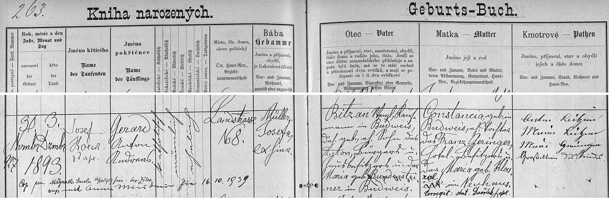 Záznam o jeho narození v českobudějovické matrice s přípisy o obou svatbách