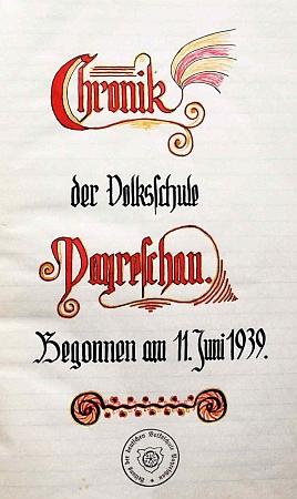 Titulní list školní kroniky poříčské německé školy