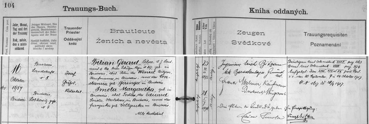 Záznam českobudějovické oddací matriky o jeho první svatbě s Margaretou, roz. Smolovou, jejíž otec tu jako svědek připojil i svůj podpis