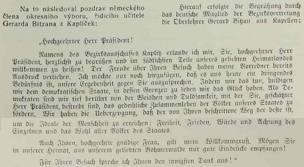 Pozdravný projev při návštěvě prezidenta Beneše v Kaplici roku 1937