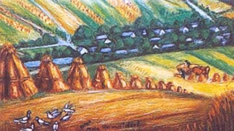 """Jeho akvarel s názvem """"Großgropitzreith"""" zachycuje rodnou ves u Tachova v čase žní"""
