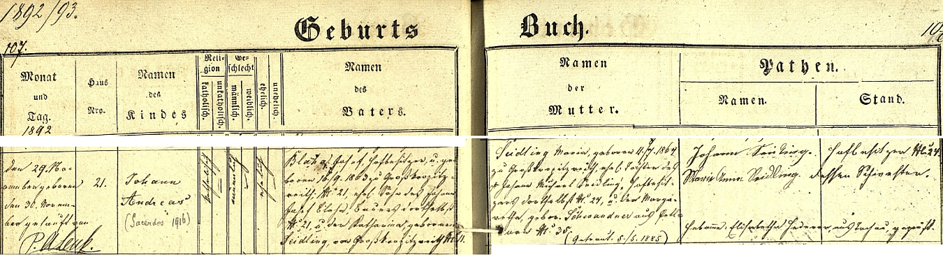 Podle tachovské křestní matriky se narodil ve Velkém Rapotíně (české místní jméno znívalo i Velký Krápětín) čp. 21 majiteli této usedlosti, jímž byl Josef Blaha, narozený na ní 16. září roku 1863 (i jeho otec Johann Josef Blaha na čp. 21 hospodařil se svou ženou Katharinou, roz. Seidlingovou z Velkého Rapotína čp. 11), a jeho ženě Marii, narozené rovněž ve Velkém Rapotíně 11. července 1864 jako dcera Johanna Michaela Seidlinga, majitele zdejší usedlosti čp. 24, a Margarethy, roz. Schwandnerové ze Žebrák (Petlarn) - pozdější přípis uvádí i letopočet 1916, kdy byl Josef Andreas Blaha vysvěcen na kněze
