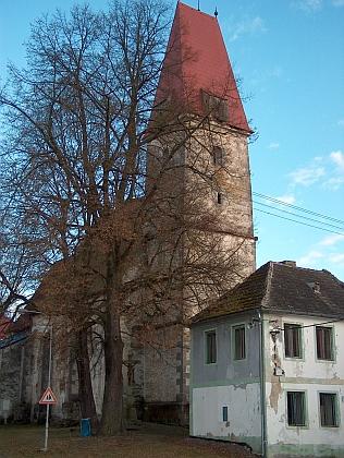 Rychnov nad Malší na snímku z roku 2009 stounepotlačitelnou vznešeností věže a starých stromů, mířících k nebi spolu s ní