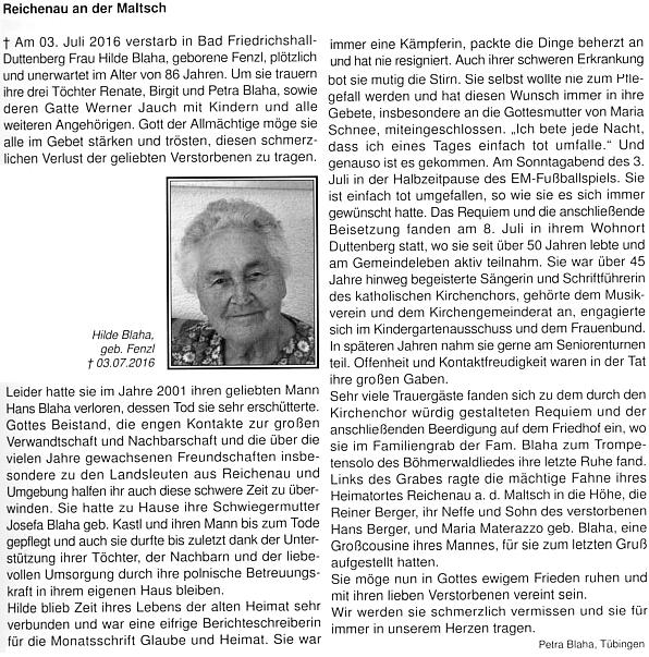 Její nekrolog na stránkách krajanského měsíčníku